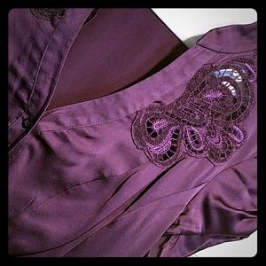 Bebe embroidered silk blouse